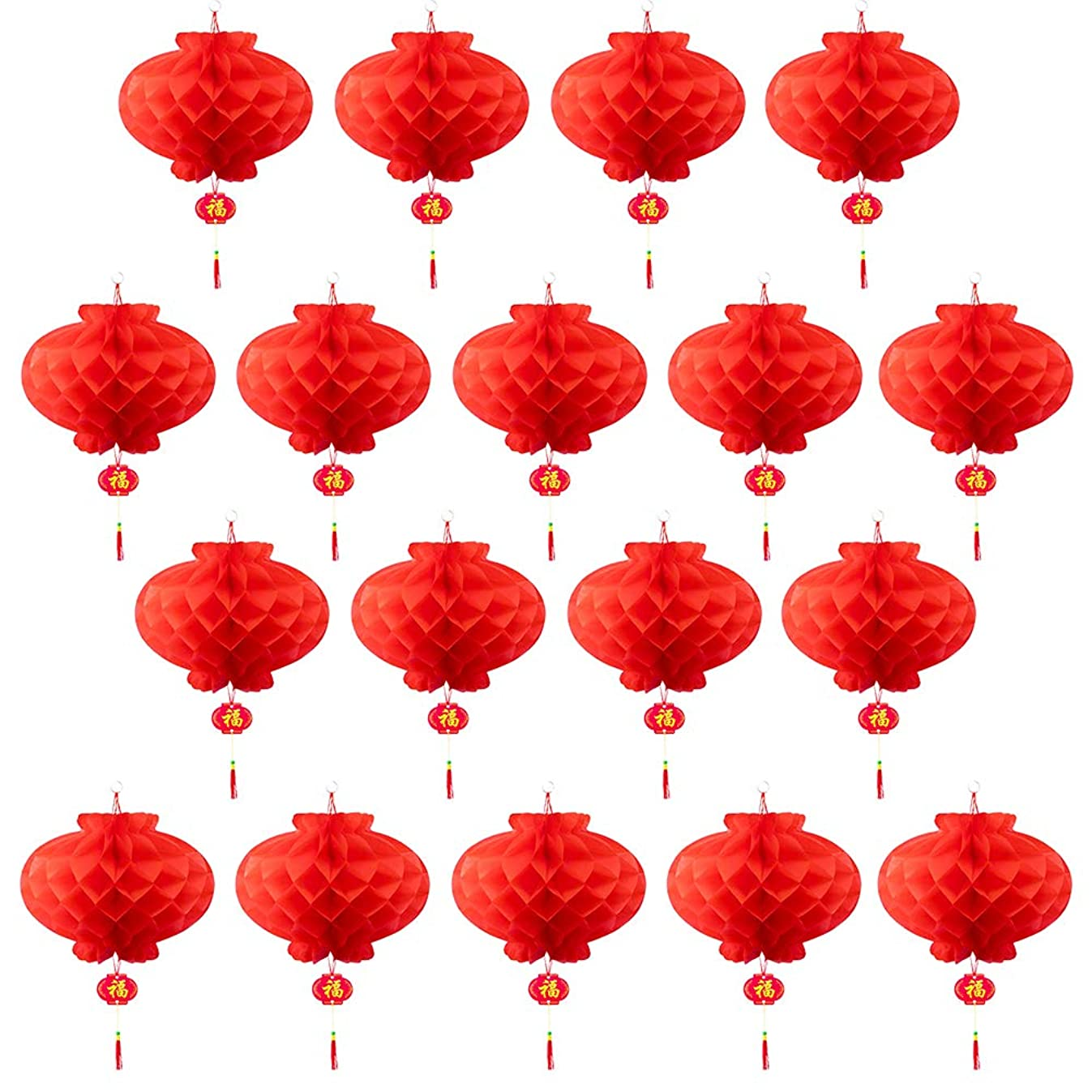 Luxanna 40 Pieces Chinese Red Paper Lanterns Festival Decorations for New Year Spring Festival Wedding Restaurant Decoration