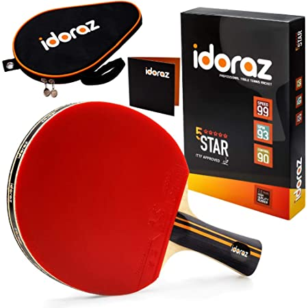 Idoraz Ping Pong Paddle Professional Racket - Table Tennis Racket with Carrying Case – ITTF Approved Rubber for Tournament Play