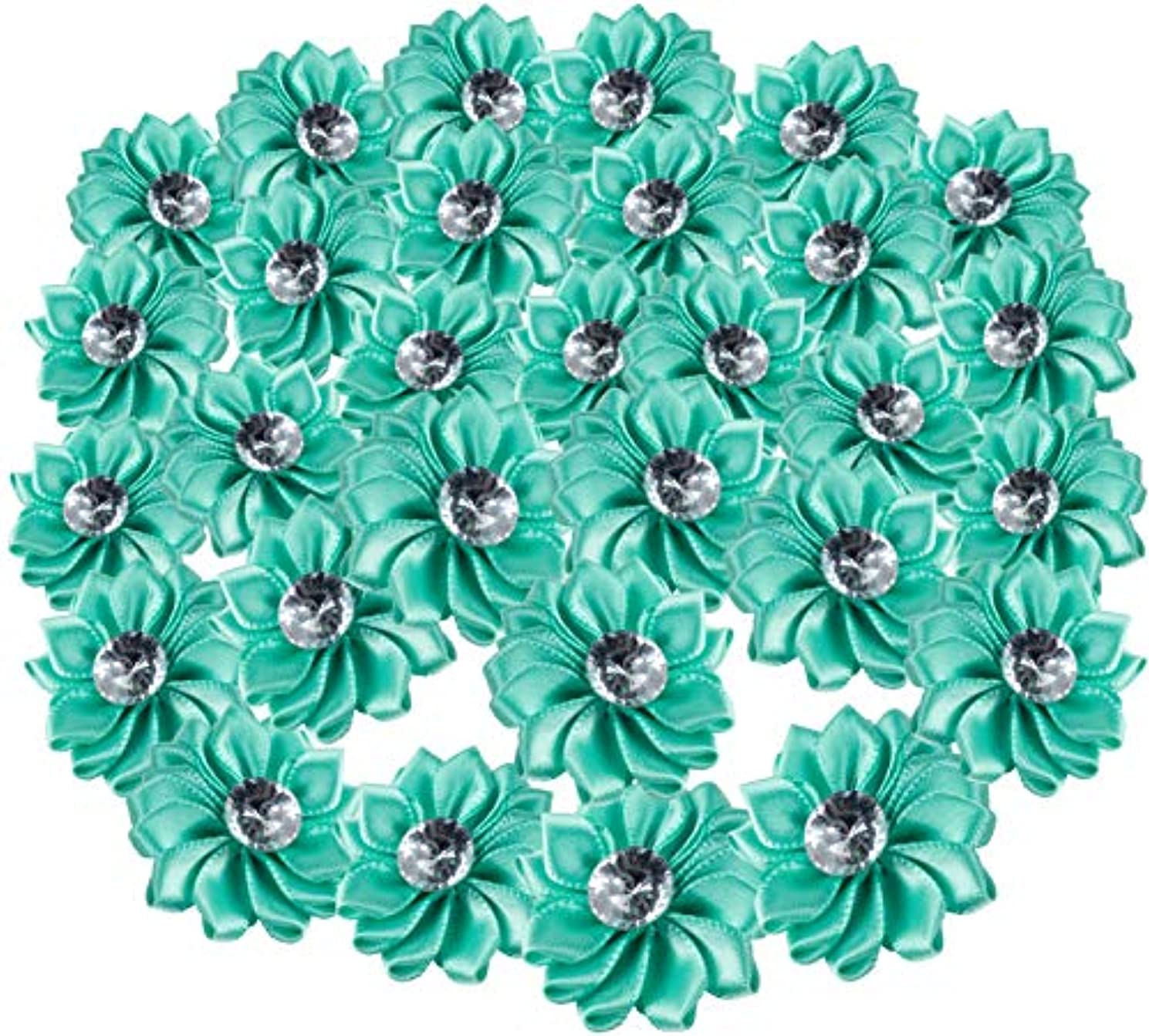 Craft Flowers - 60-Pack Flower Embellishments with Rhinestone, 1.5-Inch Turquoise Satin Ribbon Fabric Flowers for Craft, DIY Wedding Decorations, Ornaments