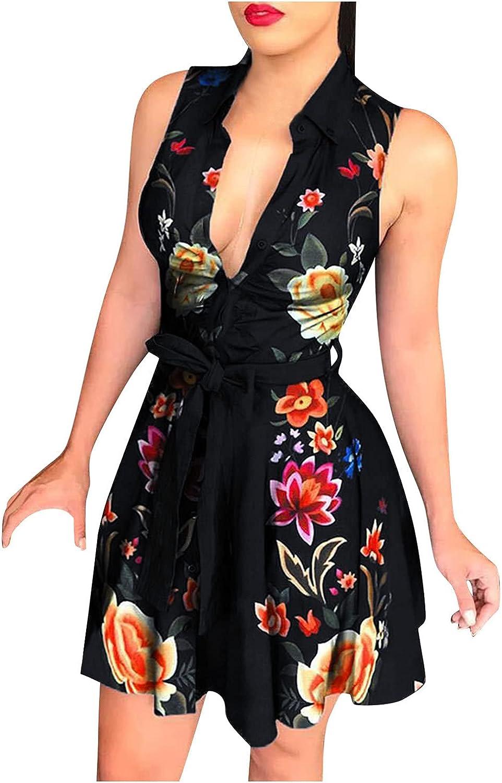 ManxiVoo Women's Turn Down Collar Sleeveless Button Down Shirt Dress with Belt Business Office Shirt Dress