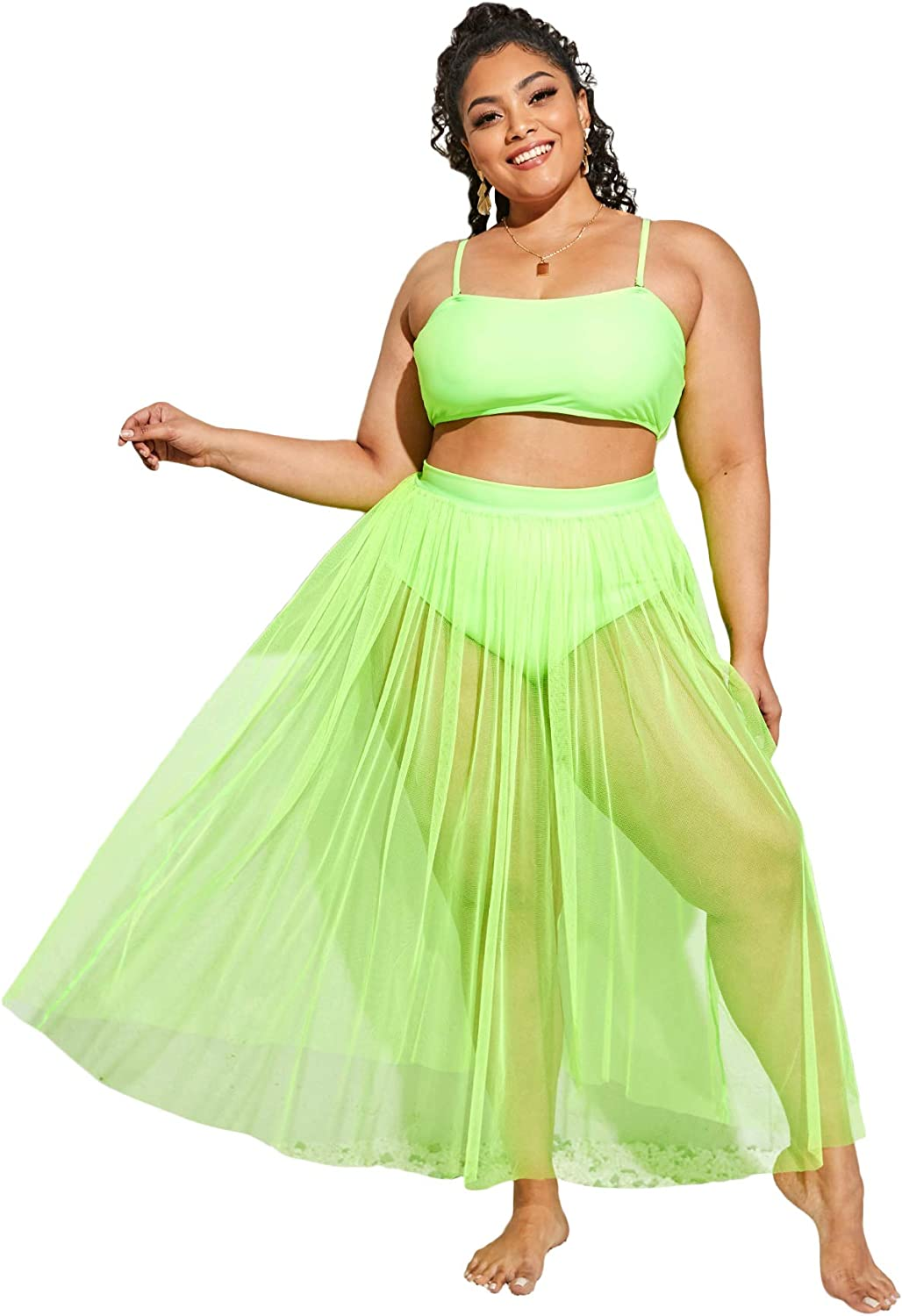 SOLY HUX Women's Plus Size High Waisted Bikini Bathing Suits with Cover Up 3 Piece Swimsuits