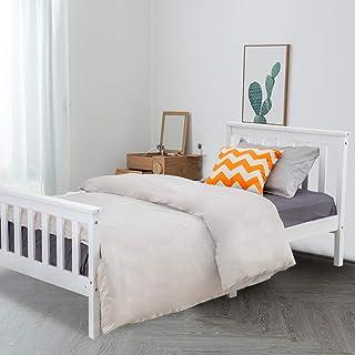 DREAMO sovrum enkelsäng massiv trä sängram för barn, tonåringar möbler vit