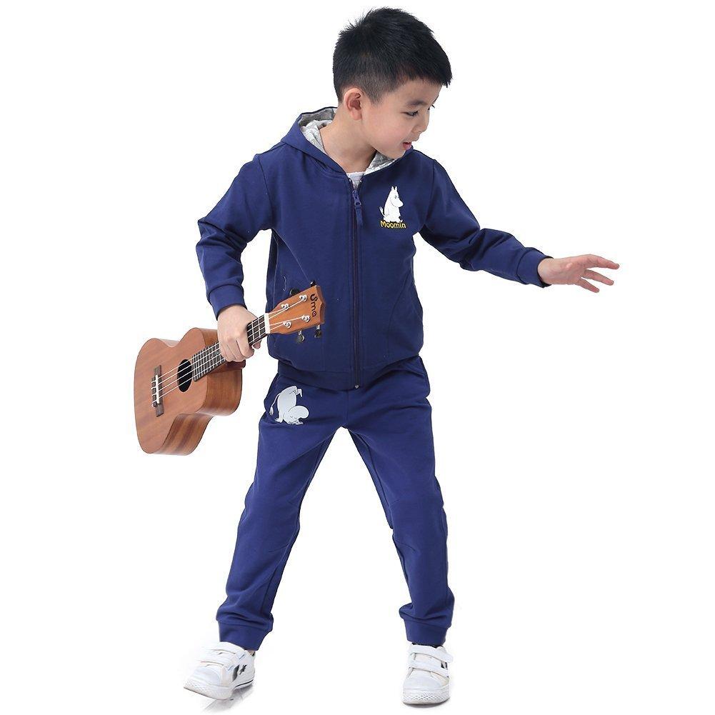 MOOMIN 姆明 芬兰品牌童装 男孩全棉休闲套装 连帽拉链衫套装 长裤套装 春秋运动装
