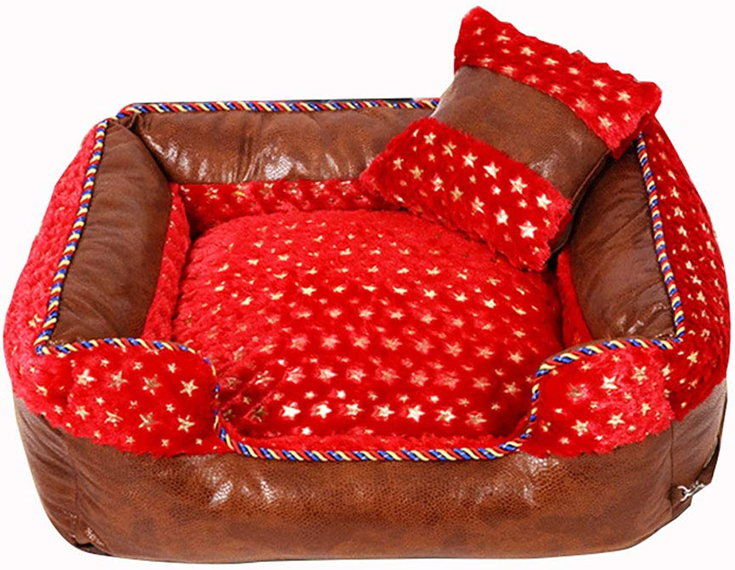 LITING Kennel Removable And Washable Teddy Dog Than Bear Small Dog golden Retriever Medium Large Dog Bed Pet Supplies Winter Warm (color   Red, Size   Xl 90  68  26cm)