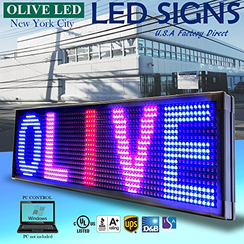 """OLIVE LED Sign 3Color, RBP, P26, 19""""x52"""" PC Programmable Scrolling Outdoor Message Display Signs EMC - Industrial Grade Business Ad Machine."""