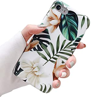 ooooops iPhone 8 Case,7 Case,SE Case for Girls, Green Leaves with White&Brown Flower Pattern Design, Slim Fit Clear Bumper Soft Full-Body Protective Cover Case for iPhone 7/8/SE 4.7``(Leaves&Flowers)