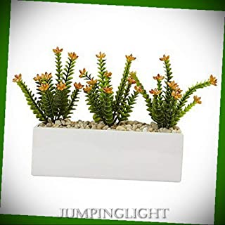 JumpingLight Flowering Sedum in Rectangular Planter Artificial Flowers Wedding Party Centerpieces Arrangements Bouquets Supplies