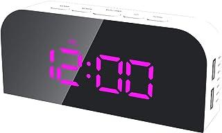 ساعة هوم تول متعددة الوظائف الإلكترونية مضيئة رقمية ساعة رقمية مضيئة مزدوجة USB ساعة مكتب صغيرة LED مرآة منبه درجة مئوية /...