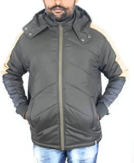 QnQ Men's Brown Quilted Jacket for Snow