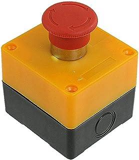 Segno Rosso Interruttore a Pulsante di Arresto di Emergenza IP66 Impermeabile Alluminio Spingere Pulsante Stazione 1NO 1NC Momentaneo Fermare Interruttore Scatola Resistente Alla RFI 80 * 75 * 60