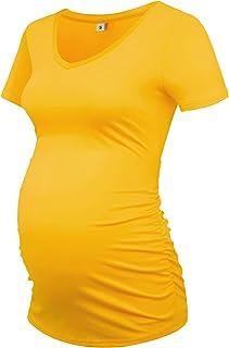 Sponsored Ad - GLAMIX Women's Maternity Shirt V Neck Short Sleeve Pregnancy Tops Basic Side Ruched Mama Tee
