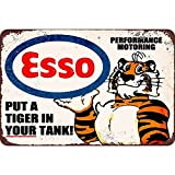 Esso Put a Tiger in Your Tank, Clemson Metal Tin Sign, Wall Decorative Garage Sign 12' x 8' By Mega-Deal