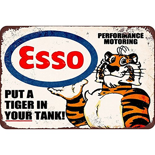 """Esso Put a Tiger in Your Tank, Clemson Metal Tin Sign, Wall Decorative Garage Sign 12"""" x 8"""" By Mega-Deal"""