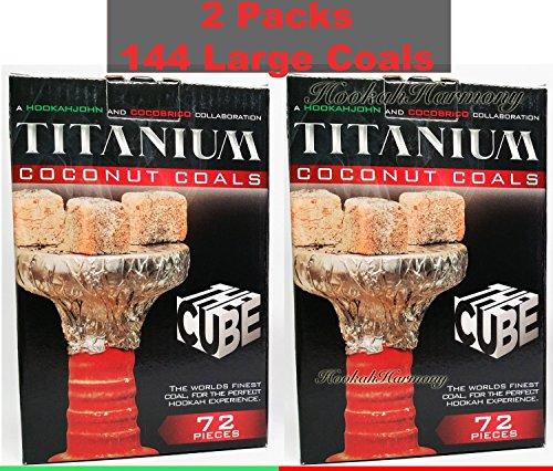 2 Boxes Extra Large Cube 72 Piece Titanium 100% Natural Coconut Coal Hookah Charcoal Shisha