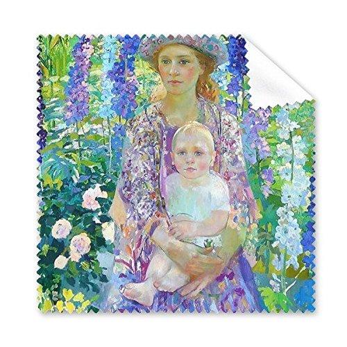 Westerse Vrouwen Holding Baby Op Bloemen Olie Schilderen Bril Doek Schoonmaken Doek Gift Telefoon Scherm Reiniger 5 stks
