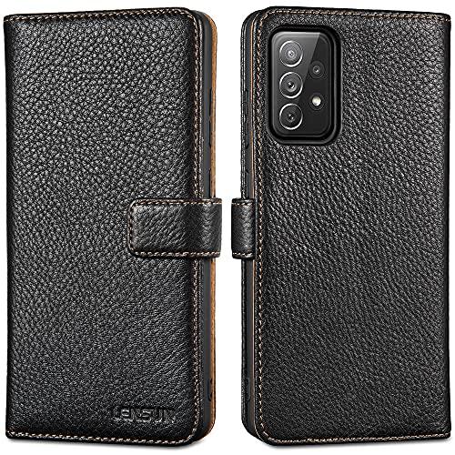 LENSUN Echtleder Hülle für Samsung Galaxy A72, Echtes Leder Handyhülle Handytasche Lederhülle kompatibel mit Samsung Galaxy A72–Schwarz(A72-LG-BK)