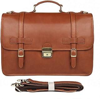 Men's Briefcase Exquisite Briefcase Men's Leather Business Bag Crazy Horse Leather Briefcase (Color : Brass, Size : L)