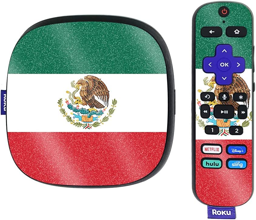 MightySkins Glossy Glitter Skin Compatible with Roku Ultra HDR 4K Streaming Media Player (2020) - Mexican Flag   Protective, Durable High-Gloss Glitter Finish   Easy to Apply   Made in The USA