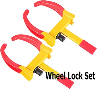 VaygWay Tire Clamp Wheel Lock- 2 Pack Metal Boot Stabilizer -Anti Theft Wheel Chock Lock Car Trailer Wheel-Security Travel Locking Claw Auto- Camper Car Van Truck SUV fits