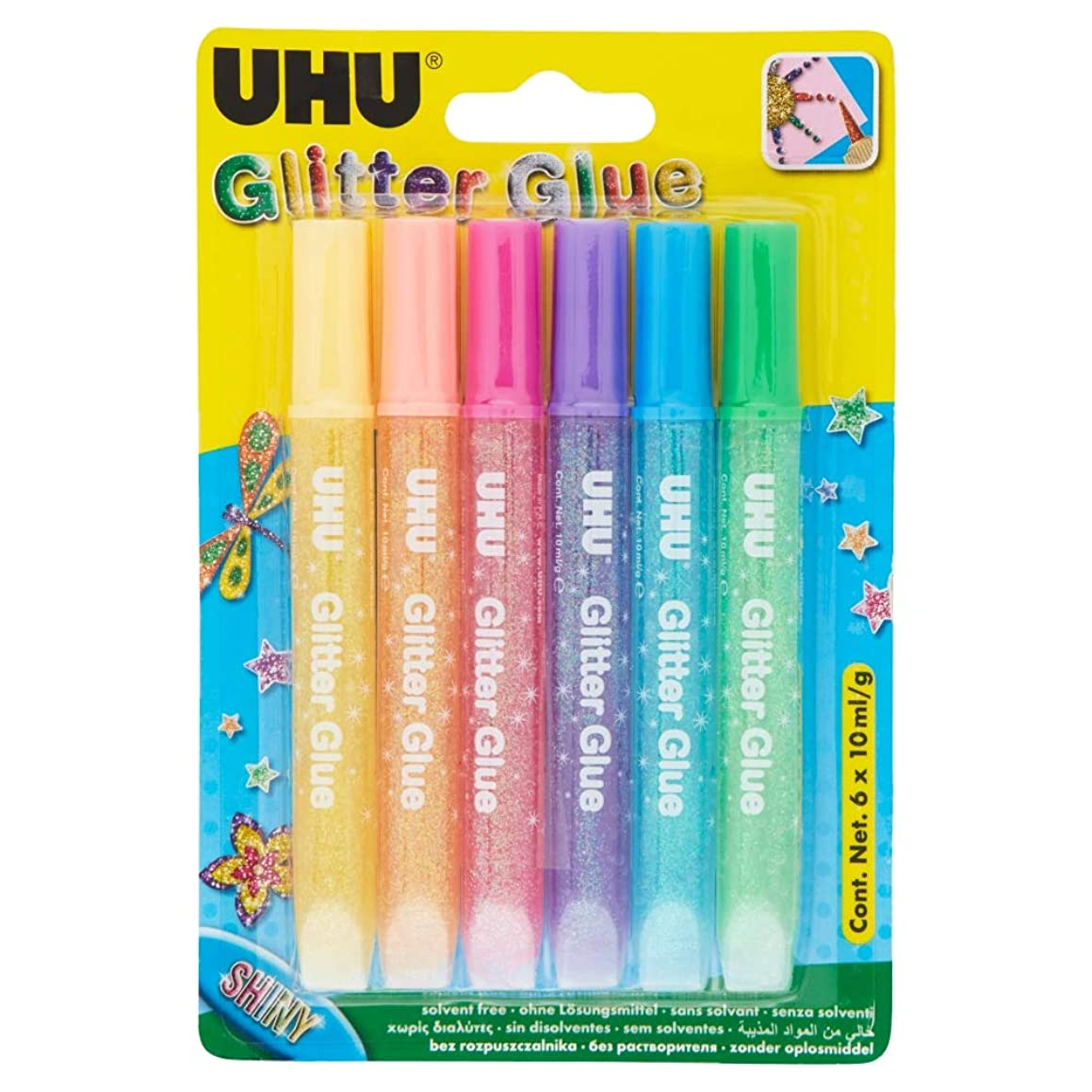 Uhu 39110 6 x 10 ml Shiny YC Glitter Glue