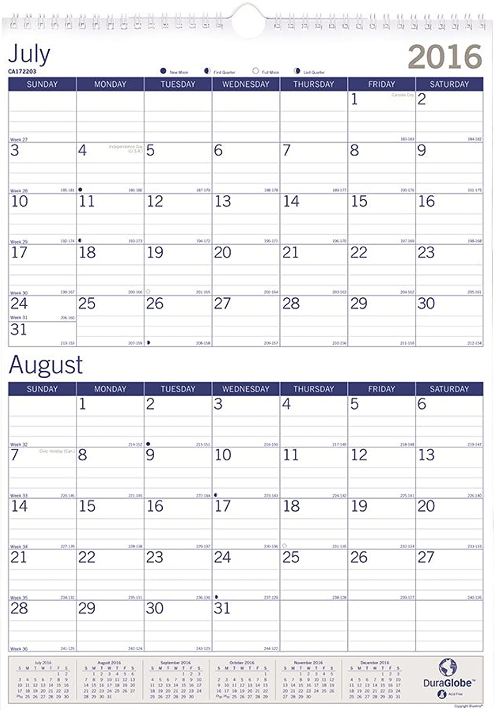 Blauline. 12 KOSTENLOSE PRÄMIEN. Akademischer Wandkalender, DuraGlobe, Juli Juli Juli 2016 – Juli 2017, 30,5 x 43,2 cm (ca172203–17) B01DOH66BM | Großartig  7aafc3