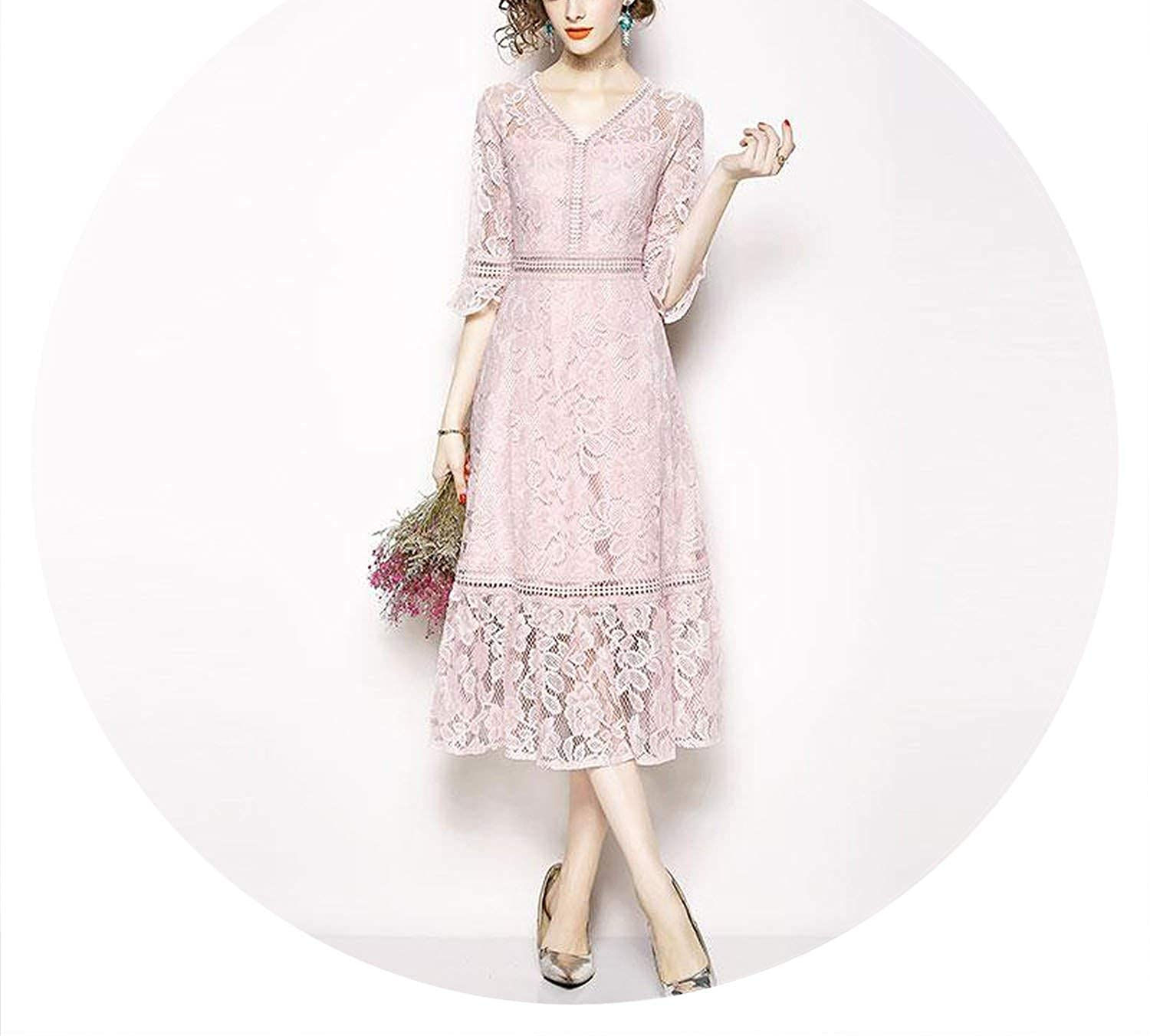Brave pinkmary Luxury Lace Ladies Elegant Party Dress New 2019 Spring VNeck Flare Sleeve Women Casual Long Dresses N644