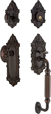 "Nostalgic Warehouse 719380 Victorian F Grip Entry Set, Backset - 2.375"", Timeless Bronze"