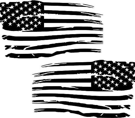 Cartat2s Distressed American Flag Old Glory Grunge Look Patriotic Car Truck Vinyl Decal 11 X 7 Black
