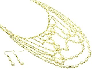 V G S Eternity Fashions Jewelry ~ Multi Strand Cream Faux Imitation Pearls Formal Necklace Earrings Jewelry Set