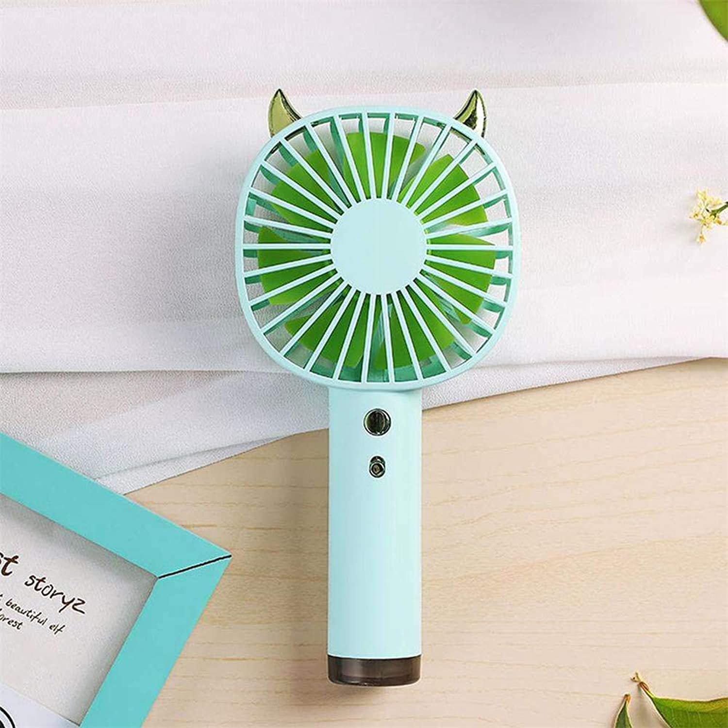 Small Personal USB Fan - Hulorry Portable Mini Handheld Fan with 3 Speed Adjustable & colorful LED Night Light, Whisper Quiet Cyclone Air Circulating Technology for Home Office Outdoor Travel (Green)