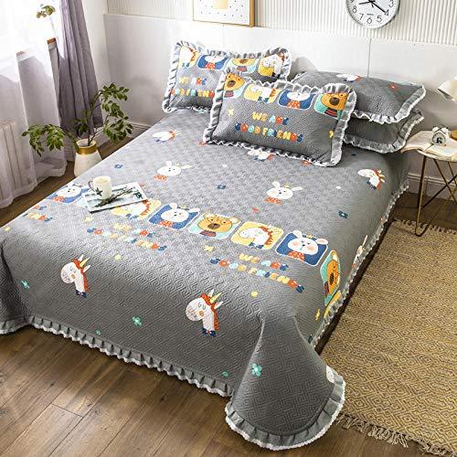 Goodlife-1 Juego de sábanas de 3 Piezas Lujo 100% algodón tamaño Grande Acolchado/Colcha Liviana, Reversible y Decorativa-K_Funda de Almohada x2