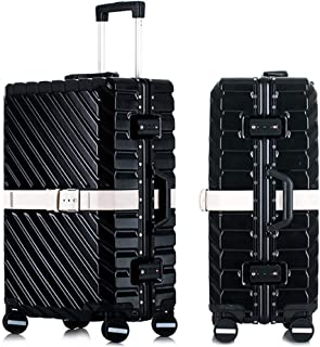 SMLCTY Lightweight Suitcases,hand Luggage Flight Bags,ABS+PC Waterproof and Breathable 4 Round Mute Caster Large Capacity Password Lock Travel Trolley Case (Color : Black and white, Size : 29 inch)