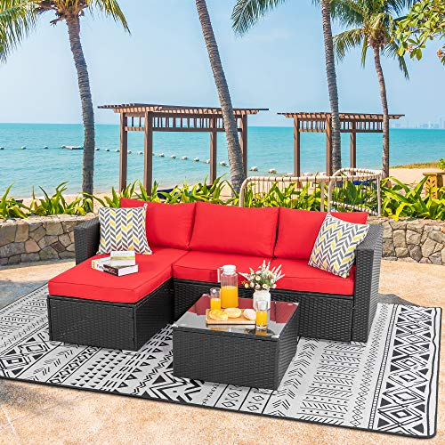 Walsunny Outdoor Furniture Patio Sets,Low Back All-Weather Small Rattan Sectional Sofa with Tea Table&Washable Couch Cushions&Upgrade Wicker Black Rattan 3-Piece(Red