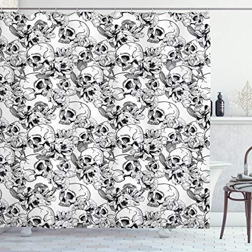 ABAKUHAUS Feier Duschvorhang, Skizzieren Sie Totenkopf, mit 12 Ringe Set Wasserdicht Stielvoll Modern Farbfest & Schimmel Resistent, 175x200 cm, Weiß & Schwarz