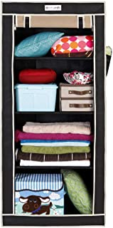 PrettyKrafts Folding Wardrobe Almirah Strong Metal Pipes, Non Woven Fabric, Extra Side Pockets_ Beige&Black