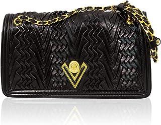 f35dcb6c39 Valentino Orlandi Italian Designer Black Pleated Draped Leather Shoulder Bag