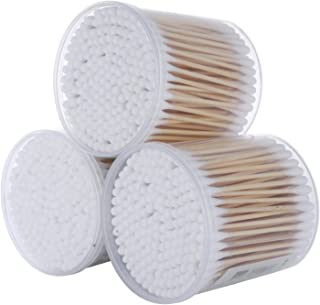 3 Boxes Total 600 Count Double Tipped Cotton Swabs Wooden Cotton Buds Sticks