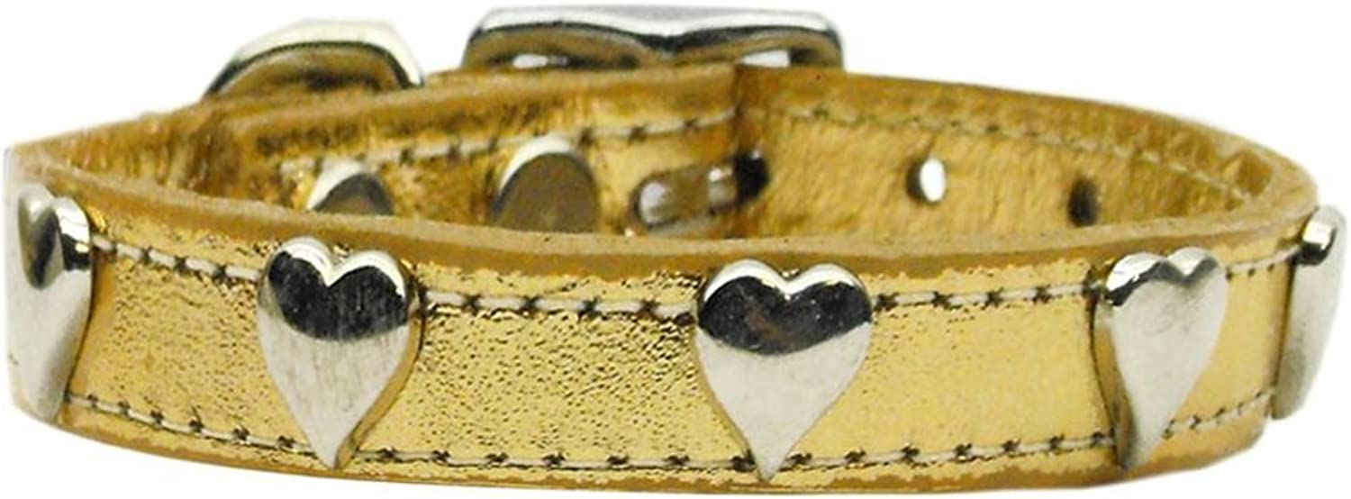 Mirage Pet Products Metallic Heart Leather gold Dog Collar, 10