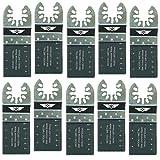 10 x TopsTools Cuchillas de 35mm para metal para Dewalt Stanley Black and Decker Bosch Fein (No-StarLock) Makita Milwaukee Parkside Ryobi Worx Multi herramienta accesorios