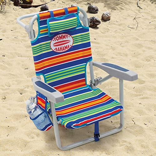 TECNOVOZ Silla Playa Infantil Tipo Mochila Plegable Tommy Bahama Rayas