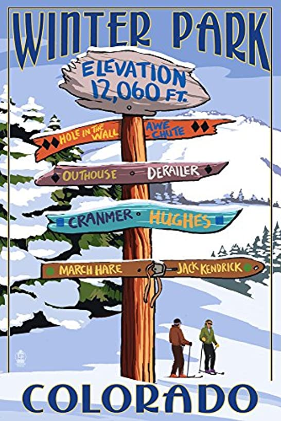 Winter Park, Colorado - Destinations Sign (12x18 SIGNED Print Master Art Print w/Certificate of Authenticity - Wall Decor Travel Poster)