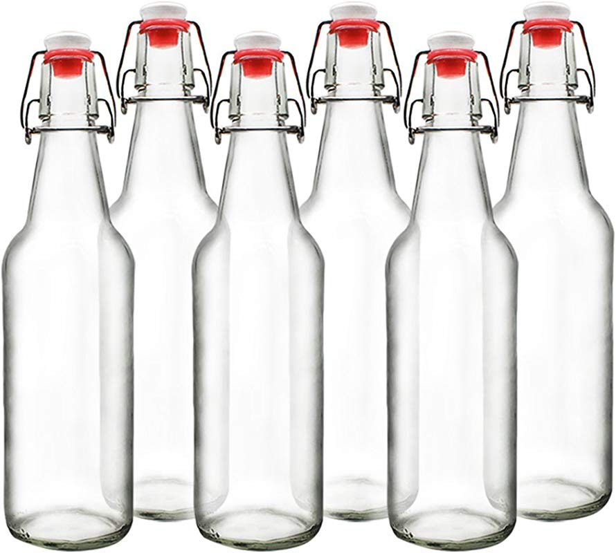 YEBODA Clear Glass Beer Bottles For Home Brewing With Easy Wire Swing Cap Airtight Silicone Seal 16 Oz Case Of 6