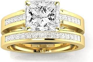 3.5 Carat 14K White Gold Channel Princess Cut Princess Cut Diamond Engagement Ring Bridal Set (3 Ct J Color SI1 Clarity Center Stone)