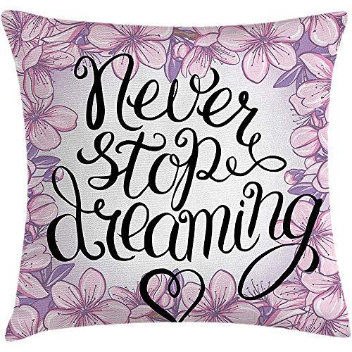 Fodera per cuscino da cuscino dire, non smettere mai di sognare parole al centro del bouquet floreale Stagione primaverile romantica, federa, rosa bianco, 45X45 cm