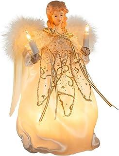 Kurt Adler 10-Light 9-Inch Ivory and Gold Angel Treetop