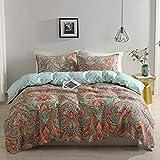 Qucover Bettwäsche 155x220cm aus Baumwolle & Polyester mit Reiverschluss Vintage Bettbezug mit 2 Kissenbezüge 80x80cm Paisley Bohemian Muster