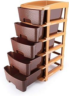 SROY ENTERPRISE Plastic Modular Basket Drawer Chest Storage Rack System Large Stomo Multi Purpose chest of Trolley Foldabl...