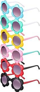 6 أزواج من نظارة شمسية للأطفال على شكل زهرة مستديرة نظارات شمس ملونة أكسسوارات لطيفة للأولاد والبنات في الهواء الطلق