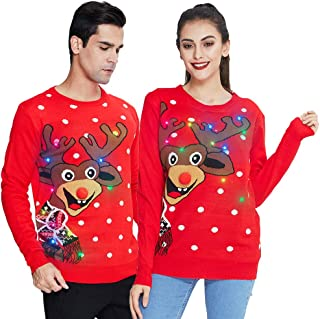 Sponsored Ad – Freshhoodies Unisex Ugly Christmas Sweater Men Women Xmas Jumpers with Lights Funny Pullover Sweatshirt Kni...