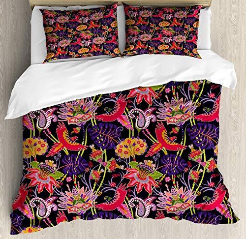 Conjunto de funda nórdica jacobea, Ilustración de jungla floral con patrón de elementos botánicos abstractos, Juego de cama decorativo de 3 piezas con 2 fundas de almohada, Púrpura oscuro multicolor